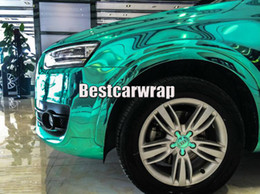 Wrap car pvc film online shopping - Tiffany High Stretchable Chrome Mirror Mint Vinyl Wrap Film with air bubble free For Car body Wrap Covering size x20m Roll x66ft