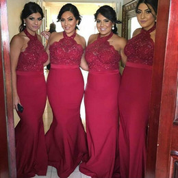 Red white halteR top wedding dResses online shopping - Gorgeous Dark Red  Halter Bridesmaid Dresses For c361b0d6a