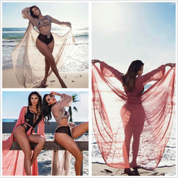 Robe Maxi De Cordon Pas Cher-Summer Beach Bikini Cover-Ups long cardigan cordon en perspective blouses Femme Sunscreen holiday Maillot de bain Maxi manches longues habillement