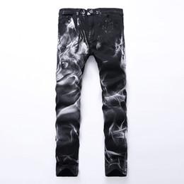 Skinny Jeans For Plus Size Men Canada - Wholesale-Men Printing Jeans Knee 3D Printed Black Rap Biker Jeans Men Hip Hop Loose Slim Wolf Skinny Jeans For Men Denim Pants Plus Size