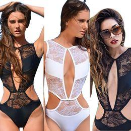 $enCountryForm.capitalKeyWord Canada - Sexy Girls One-piece Suits Women's One Pieces Mesh Lace Clear Swimsuit Bikini Swimwear Bathing Push Up Padded Sweet Bikinis Drop Shipping