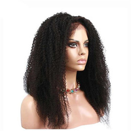 $enCountryForm.capitalKeyWord NZ - Factory Wholesale Full Lace Wig Afro Kinky Human Hair Virgin Brazilian Human Hair Front Lace Wig for Black Woman Free Shipping