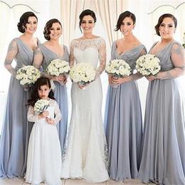 $enCountryForm.capitalKeyWord Canada - Plus Size Lace Bridesmaids Dresses 2017 A Line V Neck Long Sleeves Vintage Summer Beach Simple Cheap Long Chiffon Prom Dresses For Juniors