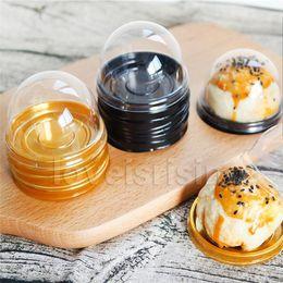 $enCountryForm.capitalKeyWord Australia - 60pcs=30sets Mini Size Black&Gold Bottom Plastic Cupcake Cake Dome Container Wedding Favor Boxes Cupcake Boxes Supplies