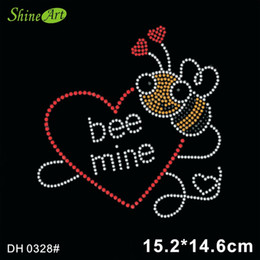 rhinestone hotfix heart NZ - Free shipping Bee Mine Heart Strass Hotfix Rhinestone Motif DIY DH0328#