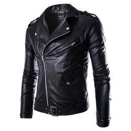 All'ingrosso- Uomo Moda PU Giacca in pelle Primavera Autunno Nuovi uomini di stile britannico Giacca in pelle Giacca da moto Cappotto maschile Nero Marrone M-3XL