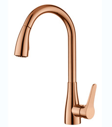 rose gold handles Canada - Rose Gold Kitchen Brass Faucets with Pull out Sprayer Tap with Single Handle 1 Hole Basin Faucet