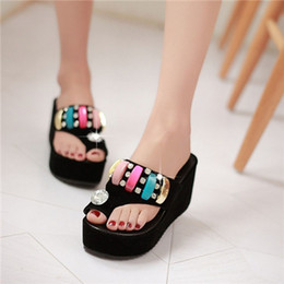 $enCountryForm.capitalKeyWord Canada - Wholesale-Women Summer Luxury Shiny Rhinestone Slide Flip Flop Thong Toe Ring Wedge High Platform Slipper Sandals