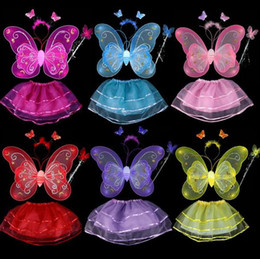 Barato Varinha Mágica De Cabeça De Borboleta-4 Pieces Children Halloween Costume Set Double Layer Angle Butterfly Fairy Wings Magic Wand Headband Birthday Party Gift G457