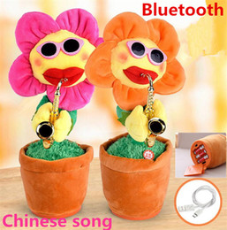 Music song Mp3 online shopping - 2018 NEW electric sunflowers Toy singing Music Sexy Musical enchanting Flower Dancing Saxophone Stuffed bluetooth play and build in songs
