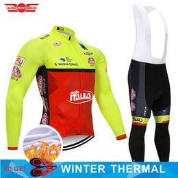 winter cycling clothing 2019 - 2018 TEAM ITALIA Cycling Jersey Bike Clothing Pants Set Mens 9D pads Ropa Ciclismo Winter Thermal Fleece Cycling Wear Bi