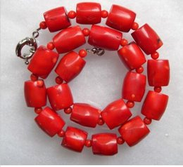 $enCountryForm.capitalKeyWord NZ - 12x18mm Vintage Estate Chunky Red Coral Barrel Bead Necklace 18inch