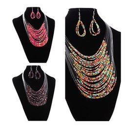 $enCountryForm.capitalKeyWord Canada - 2018 Fashion Vintage Jewelry Sets Joker Bohemian Multilayer Africa Beads Statement Necklace Earrings Set for women wholesale
