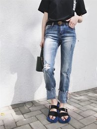 decorated pencils 2019 - 2018 summer new slim slim hole nine jeans women, Europe and the United States wind pearl decorated trousers were thin fe