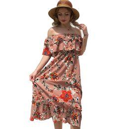 331d6c67e446 Women s Sexy Strapless Chiffon Dresses For Female Summer Floral Print  Fashion Empire Sleeveless Ruffles Length Dress XXL