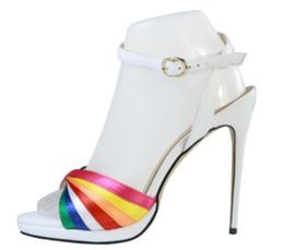 White Glitter Peep Toe UK - 2018 women glitter party shoes rainbow colorful sandals wedding shoes white sandals peep toe low platform gladiator sandals