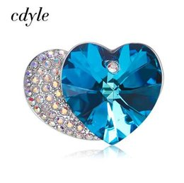 930fd79436e Cdyle Crystals from Swarovski Double Heart Brooch Pins for Women Bridal Mom  Sweater Scarf Suit Brooch Pin Glittery Blue Crystal