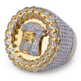 Chinese  New Design Men Ring Micro Paved Double A Zircon Gold Color Plated Jesus Head Finger Rings for Men Women Size 8-12 BR018 manufacturers