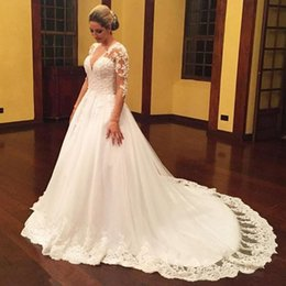 princes dresses 2019 - 2018 Designer Wedding Gowns Dresses With Long Sleeved Sexy V-neck A-line Bridal Gown Court Train New Arrivals Elegant Ro