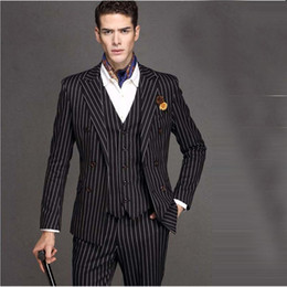 49ef09a39c Hot Sale black Wedding Suits White Pinstripe Men Suit Peaked Lapel Terno  Masculino Slim Fit Blazer Male Formal Business mens Suits Set