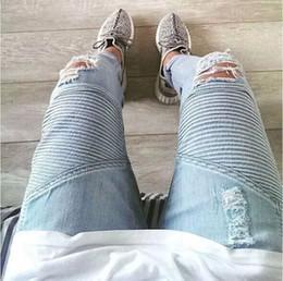 $enCountryForm.capitalKeyWord Australia - Wholesale-represent clothing designer pants slp blue black destroyed mens slim denim straight biker skinny jeans men ripped jeans 28-38