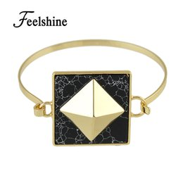 shape stone bangles Canada - whole saleFeelshine Punk Rock Style Gold-Color Chain with White Black Marble Stone Geometric Shape Open Cuff Bangles Women Bracelet