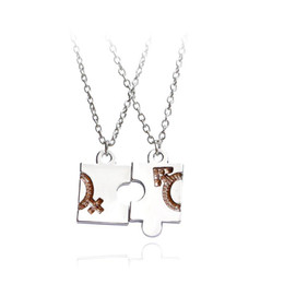 a867002377 2pcs set New Jigsaw Puzzle Best Friends Necklace For 2 Handstamped BFF Two  Chains Pendant Necklace Engraved Boy Girl Letter Gift