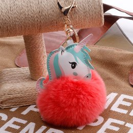 artificial chains wholesalers NZ - Sell Unicorn PomPom Keychain Lovely Fluffy Artificial Rabbit Fur Ball Key Chain Animal Wedding Birthday Gifts