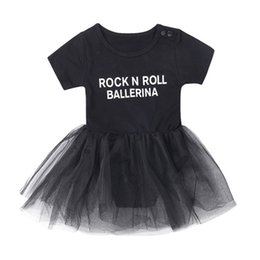 Summer Spring rollS online shopping - Baby Girls Jumpsuit Skirt Black ROCK N ROLL BALLERINA Letters Printing Two piece Clothing Sets TUTU Skirt Outfits