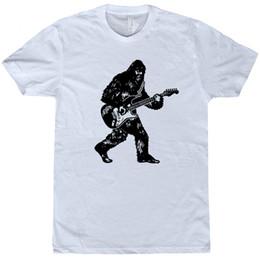 China Bigfoot Guitar T Shirt Sasquatch Playing Electric Guitar Bass Acoustic Funny Tee suppliers