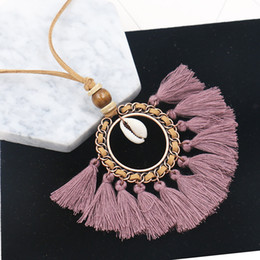 $enCountryForm.capitalKeyWord NZ - Bohemian Tassel Sweater Chain Pendant Ethnic Necklace Long Leather Rope Fringe Chain Jewelry Accessories Women Christmas Gift 6 Styles H780F