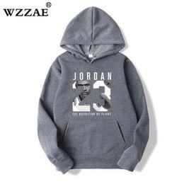 3740f341675 WZZAE Mens Hoodies 2018 New Style Men's Casual Players 23 Print Hedging  Hooded Fleece Sweatshirt Hoody Pullover S-XXXL