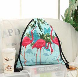 Wholesale Cashmere Knit Fabric Canada - Jom Tokoy Fashion Drawstring Bag 3D Printing Flamingo Mochila Feminina Backpack Women daily Casual Girl's knapsack 29031