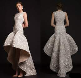 Wholesale 2019 Krikor Jabotian Luxury Evening Dresses Jewel High Low Mermaid Sleeveless Formal Party Dress Abendkleider Prom Gowns