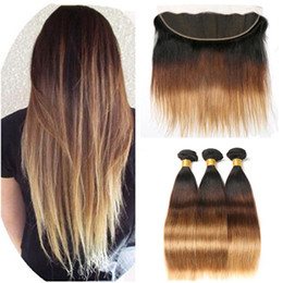 $enCountryForm.capitalKeyWord NZ - Silky Straight Three Tone #1B 4 27 Honey Blonde Ombre Brazilian Virgin Human Hair Weave Bundles with 13x4 Full Lace Frontal Closure