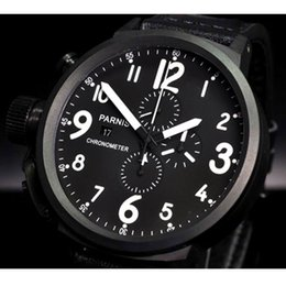 coating pvd 2020 - 50mm Black Dial PVD coated Chronograph Leather strap Quartz Movement men's Wristwatch cheap coating pvd