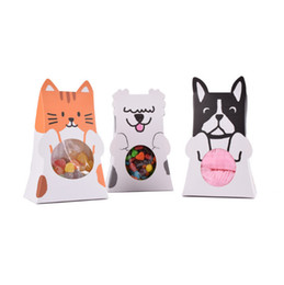 Wholesale Gift Boxes For Chocolates UK - Korean style cute Cat Dog shape gift box folding paper candy boxes for party supplier
