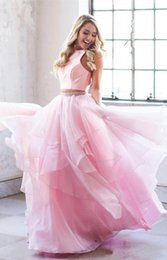 two piece cape dress Australia - Sexy Pink Two Piece Prom Dresses 2019 Ruffles organza tiered skirt jewel neck cape hollow back plus size formal Prom Dress Evening Gowns