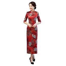 Shanghai Story 2018 New Sale 3 4 Sleeve Qipao Long Chinese Dress Autumn  Cheongsam Floral Qipao Dress for Women 640e1c46453b