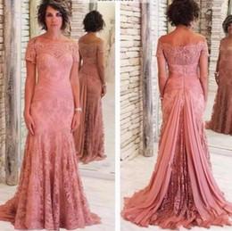 bride shoulder strap wedding dress 2019 - 2019 Plus Size Lace Mother Of The Bride Dresses Off the Shoulder Short Sleeves Lace Mermaid Evening Dresses Long For Wed
