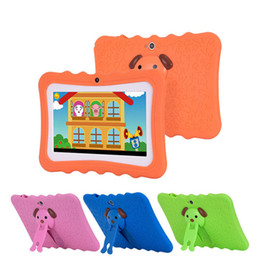 Discount tablet 2018 Kids Brand Tablet PC 7 inch Quad Core children tablet Android 4.4 Allwinner A33 google player wifi big speaker protective cover
