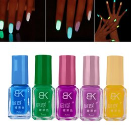 Discount top selling candy - Wholesale- 5Pcs Candy Colors Nail Lacquers Fluorescent Luminous Neon Glow In Dark Varnish Nail Art Polish Tool Top Sell