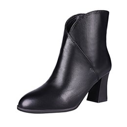 China Women Luxury Designer Retro Leather Pointed Toe High Heel Candy Color High Quality Shoes Non-Slip Short Tube Martin Boots cheap high heel shoes tube suppliers