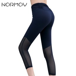 Training Tights Women Canada - NORMOV Mesh Sport Leggings Tights Women Fitness Clothing Sweat Solid Yoga Pants Female Training Push Up High Waist Capri Pants