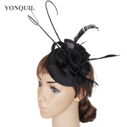 $enCountryForm.capitalKeyWord NZ - Imitation Sinamay fascinator wedding hats base with ostrich quill bridal headpiece with feather party headband event hat hair accessories