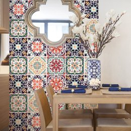 Tiles Design For Kitchen Wall Australia - Colorful Flowers Pattern Tile Wall Stickers Kitchen Room Bathroom Anti-slip Wall Decals Home Decoration Cabinet Creative Posters