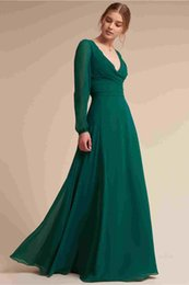 $enCountryForm.capitalKeyWord UK - Long Sleeve Chiffon Prom Dresses 2019 A Line Deep V Neck Simple Cheap Formal Evening Gowns Women Cocktail Party Celebrity Red Carpet Dress