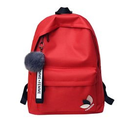 b0b01ef51aa School Bags for Teenage Girls Schoolbag Children Nylon Backpack Kids RED Bag  Pack Women Casual Backpack Leaf Decor Plush Pendant