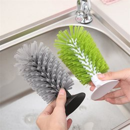 Discount clean glass bottle - 1pc New Sink Suction Cup Base Cleaning Bottle Glass Brush Wine Glasses Brushes Kitchen Clean Antibacterial Tool High Quq