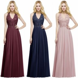Chinese  Babyonline Sexy New Lace Chiffon Long Evening Dress Elegant Sleeveless A Line V Neck Sequins Beaded Prom Gowns Bridesmaids Dress CPS912 manufacturers